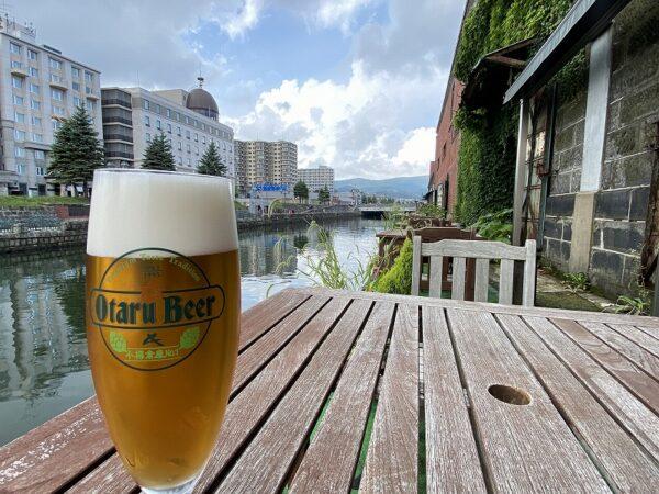 テラスでビール